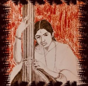 Sketch of Lata Mangeshkar by Shreelakshmi Ramaswamy